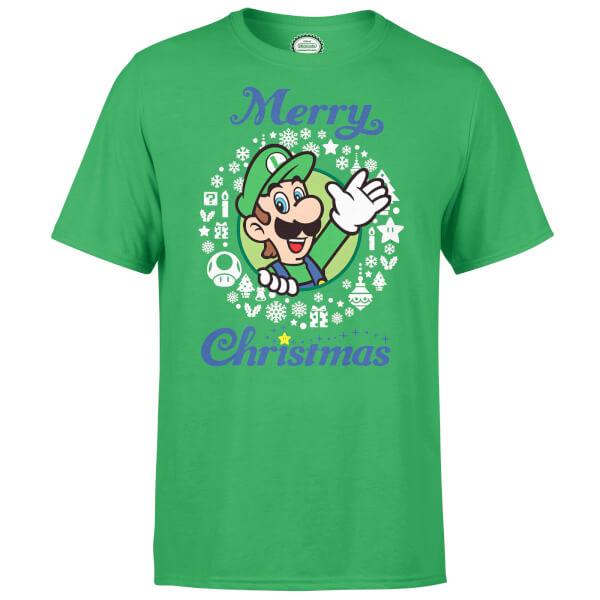 Nintendo Super Mario Luigi White Wreath Merry Christmas Green T-Shirt