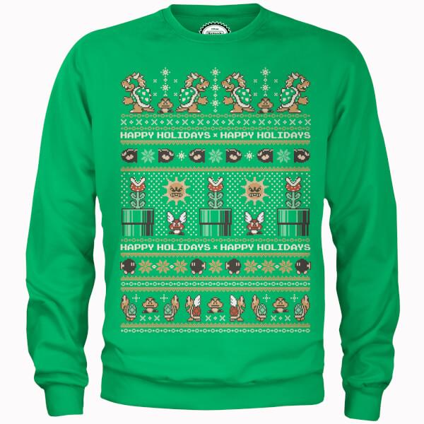 Nintendo Super Mario Happy Holidays The Bad Guys Green Christmas Sweatshirt