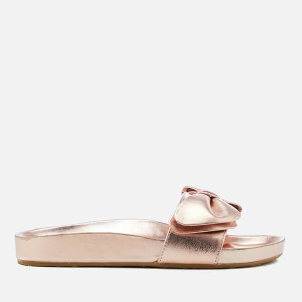 Dune Women's Fenela Leather Slide Sandals - Rose Gold