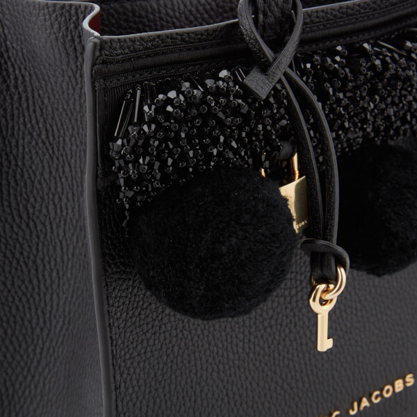 3b4e34d2f580 Marc Jacobs Women s Mini Grind Tote Bag with Beads and Pom Poms - Black   Image