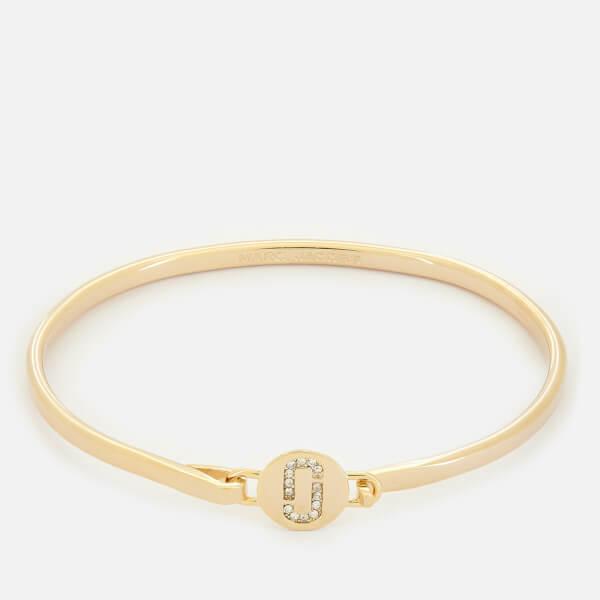 Marc Jacobs Women's Double J Pave Hinge Cuff Bracelet - Gold