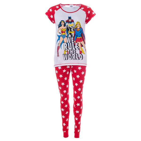 DC Comics Women's Superheroes Pyjamas - Red