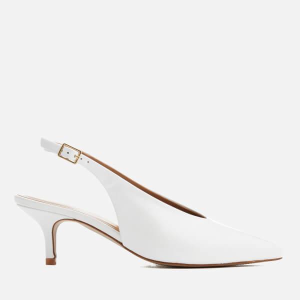 Carvela Women's Amy Leather Sling Back Pointed Kitten Heels - White
