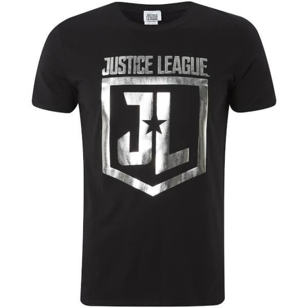 DC Comics Men's Justice Foil Logo T-Shirt - Black