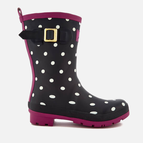 Joules Women's Molly Short Wellies - French Navy Spot