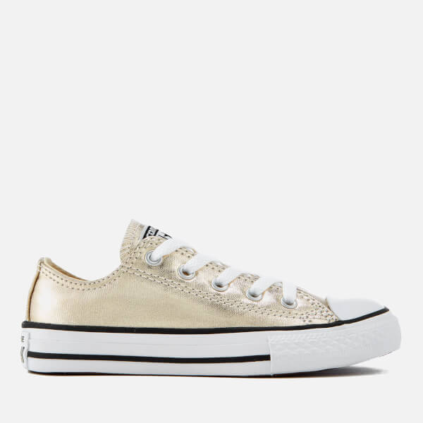 5b15974801a Converse Kids  Chuck Taylor All Star Ox Trainers - Light Gold White Black