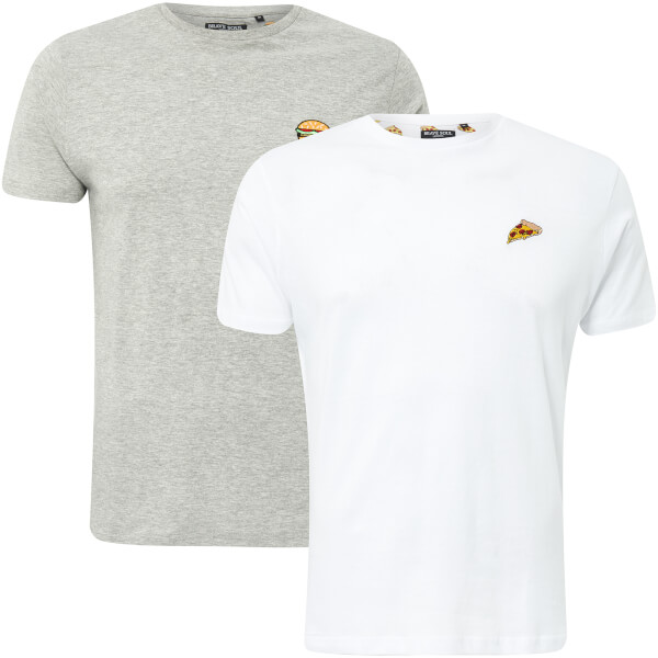 Brave Soul Men's Dorado Burger & Pizza 2-Pack T-Shirt - Light Grey Marl/White
