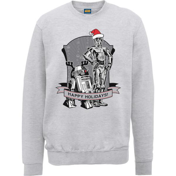 Star Wars Happy Holidays Droids Grey Christmas Sweatshirt