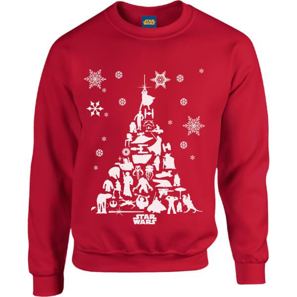 Star Wars Character Christmas Tree Red Christmas Sweatshirt