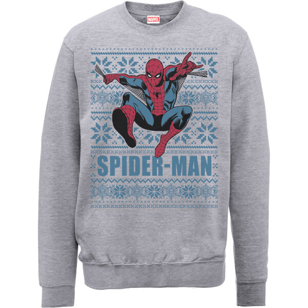 Marvel Comics Spiderman Leap Knit Grey Christmas Sweatshirt