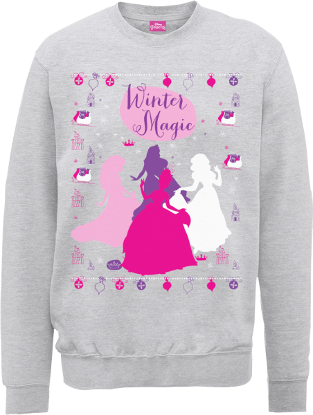 Disney Princess Christmas Princess Silhouettes Grey Christmas Sweatshirt