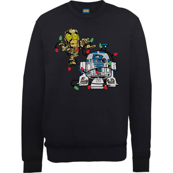 Star Wars Tangled Fairy Lights Droids Black Christmas Sweatshirt