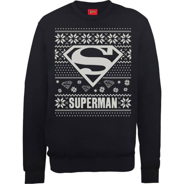 DC Superman Christmas Knit Logo Black Christmas Sweatshirt