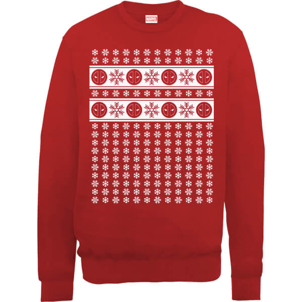 Marvel Deadpool Christmas Snowflakes Red Christmas Sweatshirt