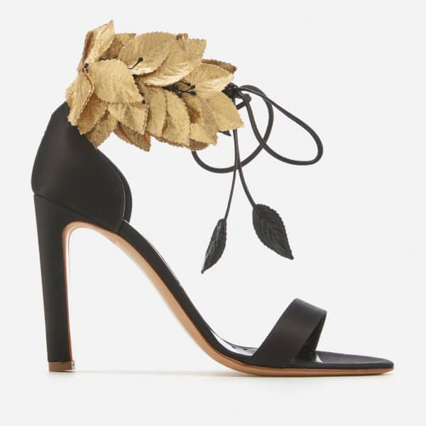 Rupert Sanderson Women's Eden Heeled Sandals - Black Satin/Gold Silk