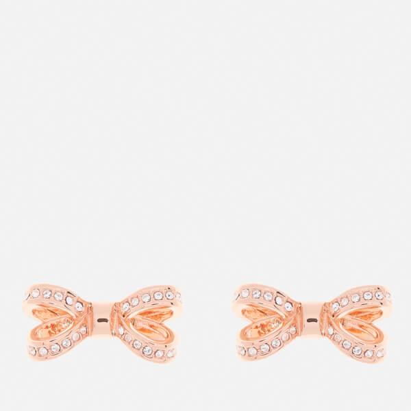 Ted Baker Women's Olitta Mini Opulent Pavé Bow Earrings - Rose Gold/Crystal