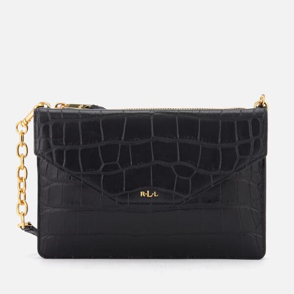Lauren Ralph Lauren Women's Newbury Erika Soft Faux Croc Cross Body Bag - Black