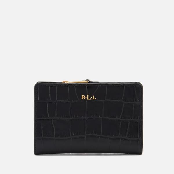 Lauren Ralph Lauren Women's Newbury New Compact Soft Faux Croc Wallet - Black