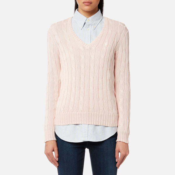 af7baf7fd ... coupon code for polo ralph lauren womens kimberly v neck jumper pale  pink image 1 28634