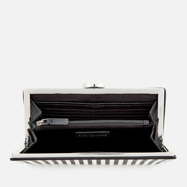 Lulu Guinness Women\'s Stripe Leather Frame Purse - Black/Chalk ...