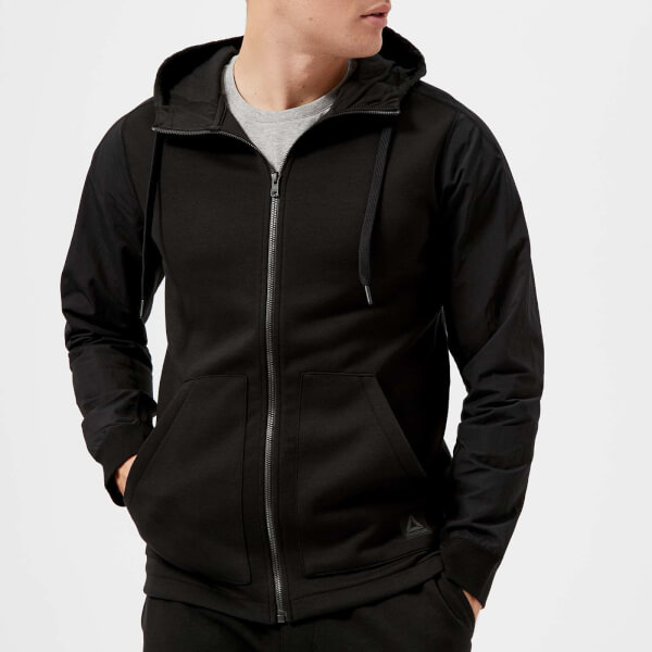 reebok men's full zip hoody - black - xxl - black