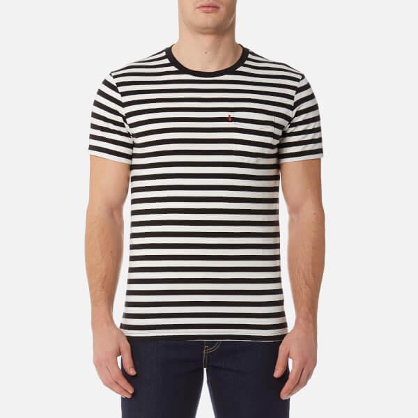 levi's men's short sleeve set-in sunset pocket shirt - cooler stripe black/marshmallow - xxl - black
