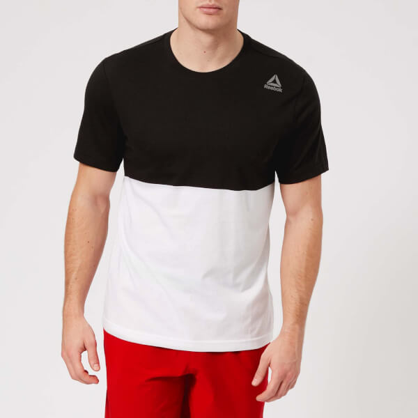 reebok men's colour block short sleeve t-shirt - black/white - xxl - black