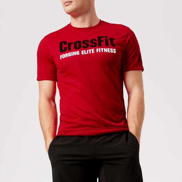 reebok men's crossfit primal red short sleeve t-shirt - red - xxl - red