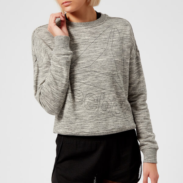 Reebok Women s Marble Logo Crew Neck Sweatshirt - Medium Grey Heather   Image 1 7539ac643