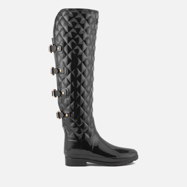 Hunter Women s Refined Over the Knee Gloss Quilted Boots - Black  Image 1 f9beb2f48e