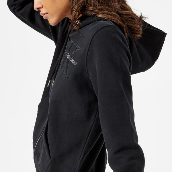 Calvin Klein Women's Holt Hooded Zip Through Top - Black: Image 1