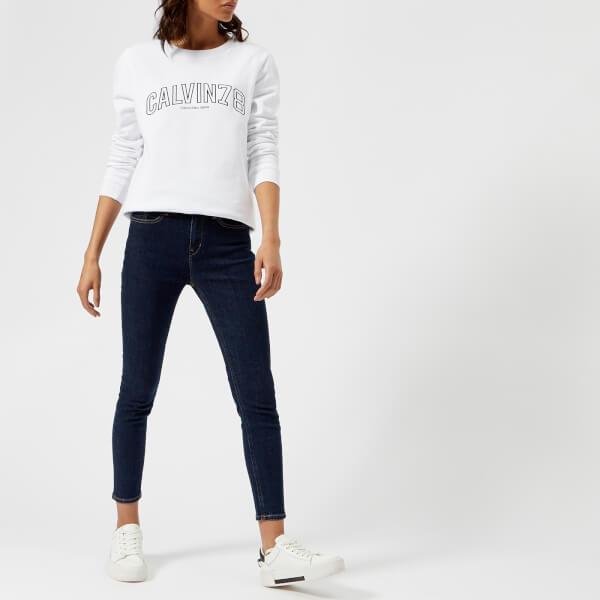 ce4dfc56415 Calvin Klein Women s Core Fit Crew Neck Sweatshirt - White Womens ...