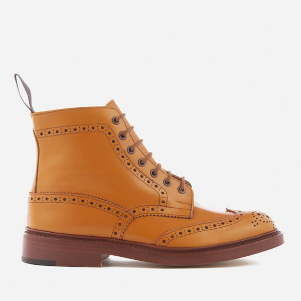 Tricker's Men's Stow Leather Brogue Lace Up Boots - Acorn Antique