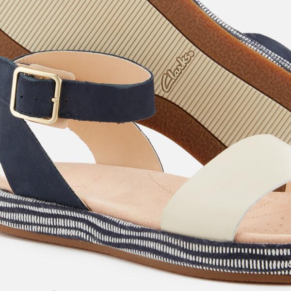 ad312729852b Clarks Women s Botanic Ivy Double Strap Flat Sandals - Navy Combi  Image 4