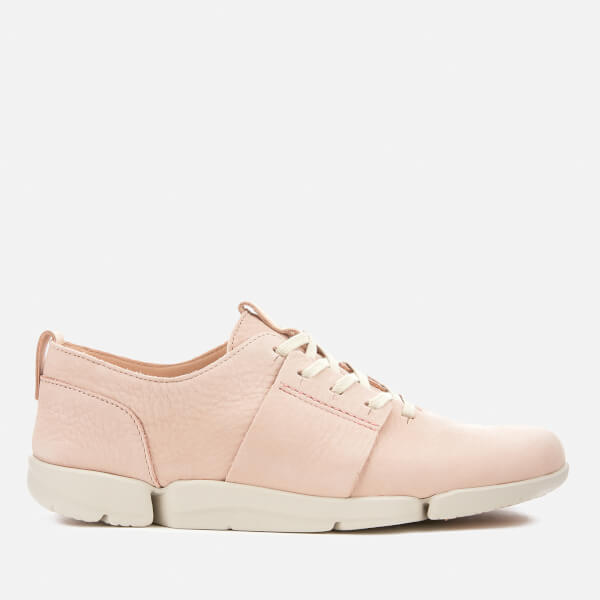 Clarks Women's Tri Caitlin Leather Trainers - Nude Pink Nubuck