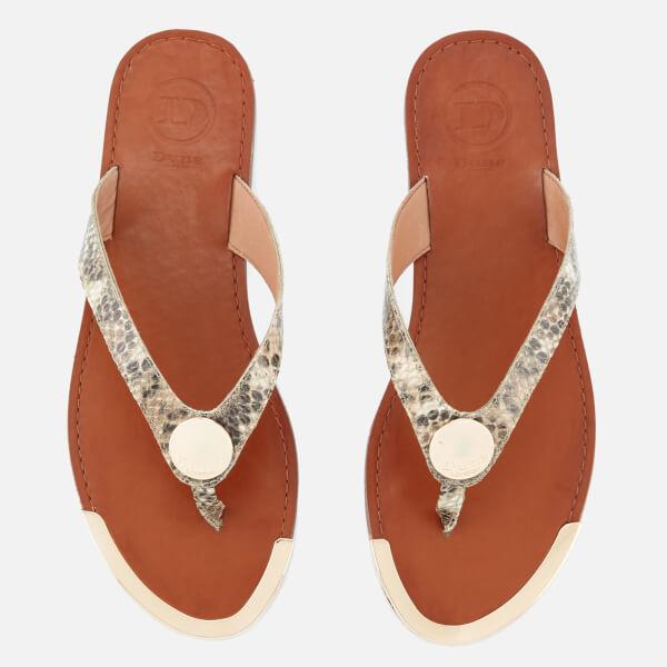 Dune Women's Lagos Leather Toe Post Sandals - Natural Reptile