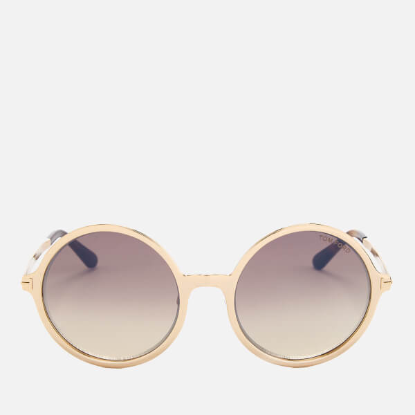 92304f0ca6c6 Tom Ford Women s Ava Round Frame Sunglasses - Rose Gold Brown Mirror  Image  1