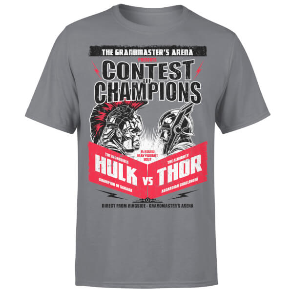 Marvel Contest Of Champions Hulk Vs Thor Charcoal T-Shirt: Image 1