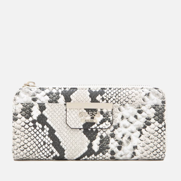 Guess Women's Bobbi Slim Zip Wallet - Natural Python