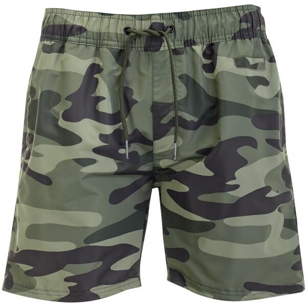 Crosshatch Men's Camo Swim Shorts - Green Camo