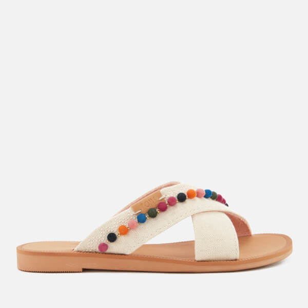 TOMS Kids' Viv Cross Front Slide Sandals - Natural Hemp/Pom Poms