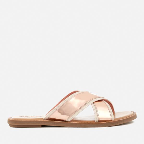 c9982f41a TOMS Women s Viv Cross Front Slide Sandals - Rose Gold Specchio  Image 1