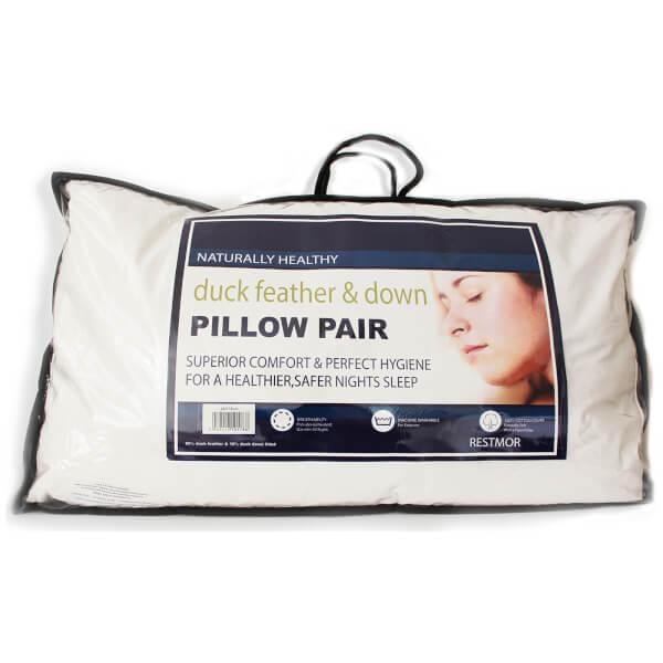 oreillers en plumes et plumettes de canard restmor blanc 50cm x 75cm homeware. Black Bedroom Furniture Sets. Home Design Ideas