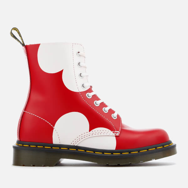 Dr. Martens Women's Pascal Valentine Smooth Lace Low Boots - Poppy Red/White