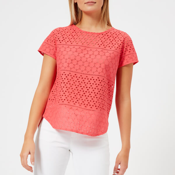 Joules Women's Nadine Broderie Front Top - Red Sky