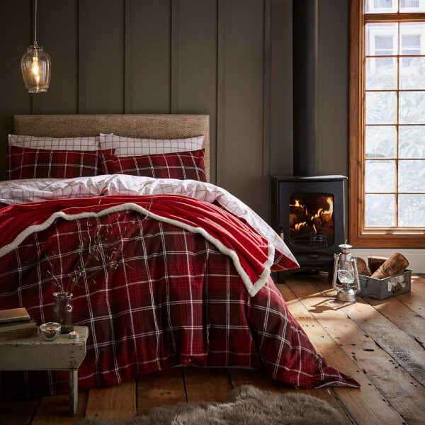 Catherine lansfield tartan check duvet set red sowia - Housse de couette tartan ...