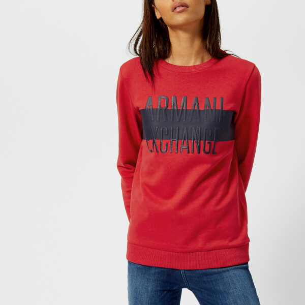 armani exchange women's logo sweatshirt - lollipop - l - red