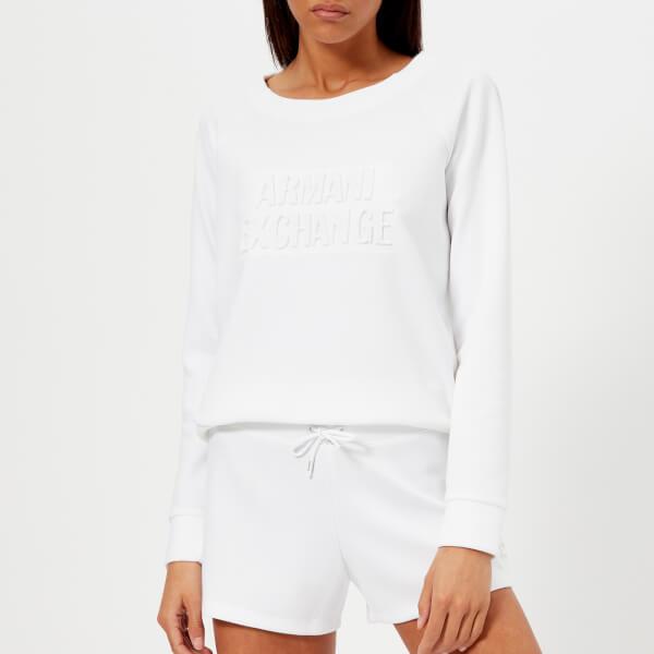 armani exchange women's faded logo sweatshirt - white - l - white