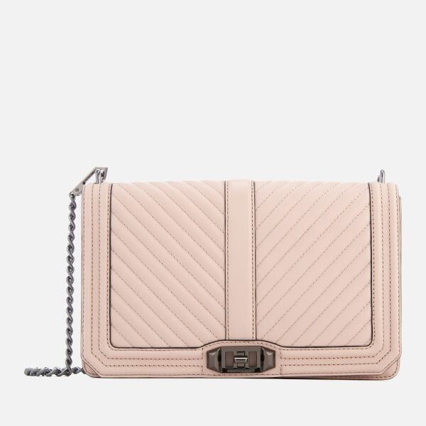 Rebecca Minkoff Women's Chevron Quilted Slim Love Cross Body Bag - Nude