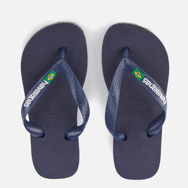 Havaianas Kids' Brasil Logo Flip Flops - Navy Blue
